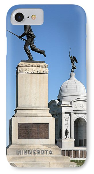 Minnesota And Pennsylvania Monuments At Gettysburg IPhone Case
