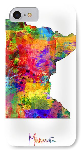 Minnesota Map IPhone Case by Michael Tompsett