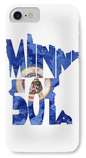 Minnesota Typographic Map Flag IPhone Case by Ayse Deniz