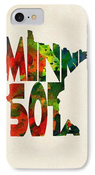 Minnesota Typographic Watercolor Map IPhone Case by Ayse Deniz
