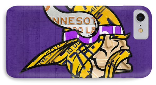 Minnesota Vikings Football Team Retro Logo Minnesota License Plate Art IPhone Case by Design Turnpike