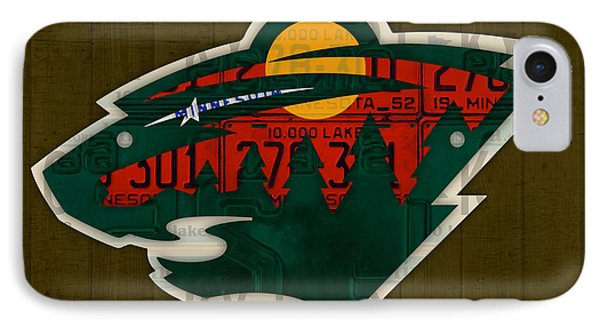Minnesota Wild Retro Hockey Team Logo Recycled Land Of 10000 Lakes License Plate Art IPhone Case by Design Turnpike