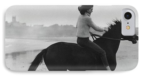 Minnie Cushing Riding A Horse IPhone Case by Toni Frissell
