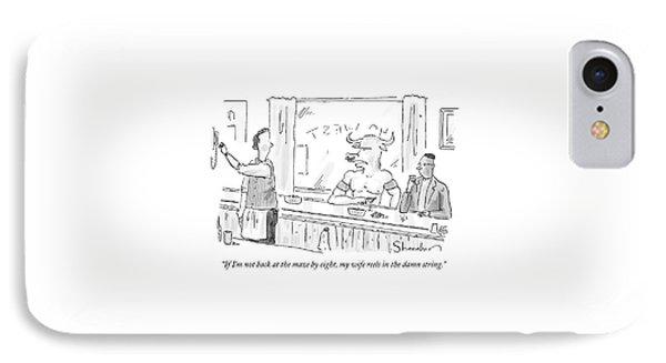 Minotaur At Bar Talking To Bartender Reaching IPhone Case by Danny Shanahan