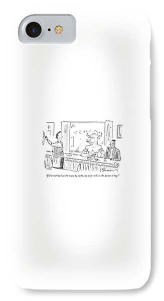 Minotaur iPhone 7 Case - Minotaur At Bar Talking To Bartender Reaching by Danny Shanahan