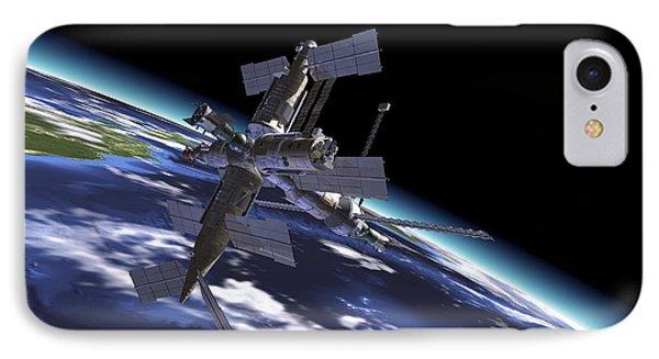 Mir Russian Space Station In Orbit Phone Case by Leonello Calvetti