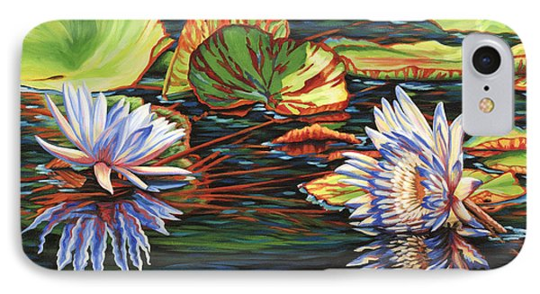 IPhone Case featuring the painting Mirrored Lilies by Jane Girardot