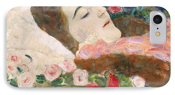 Miss Ria Munk On Her Deathbed Phone Case by Gustav Klimt