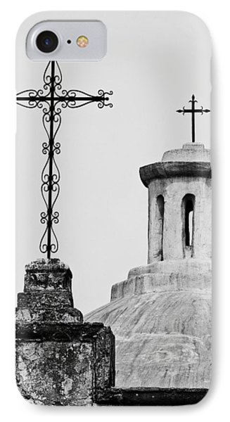 IPhone Case featuring the photograph Mission Concepcion Crosses by Andy Crawford