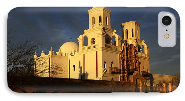 Mission San Xavier Del Bac Last Light Phone Case by Bob Christopher