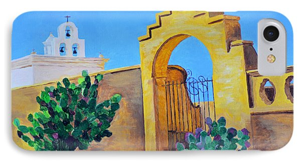 IPhone Case featuring the painting Mission San Xavier by Rodney Campbell