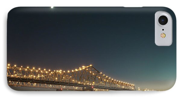 IPhone Case featuring the photograph Mississippi Bridge Moonlight by Ray Devlin