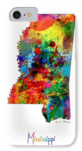Mississippi Map IPhone Case by Michael Tompsett
