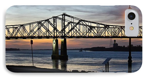 IPhone Case featuring the photograph Mississippi River Bridge Natchez Sunset by Jim Albritton