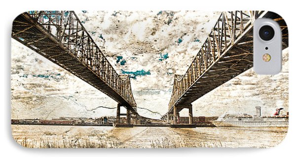IPhone Case featuring the photograph Mississippi River Bridge Twin Spans by Ray Devlin