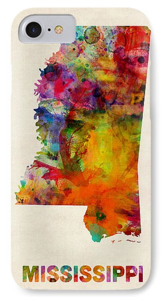 Mississippi Watercolor Map IPhone Case