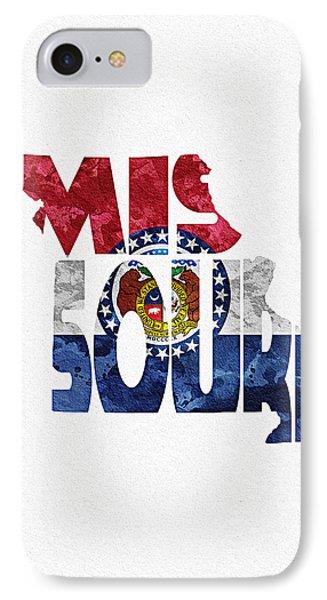 Missouri Typographic Map Flag IPhone Case by Ayse Deniz