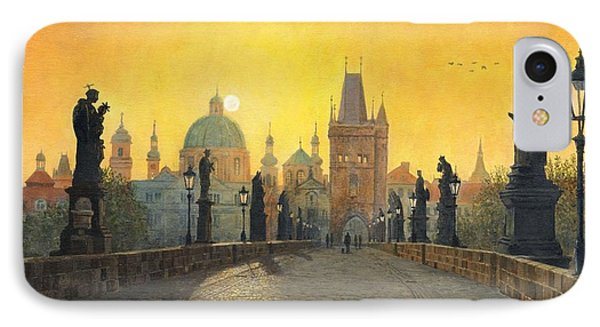 Misty Dawn Charles Bridge Prague IPhone Case by Richard Harpum