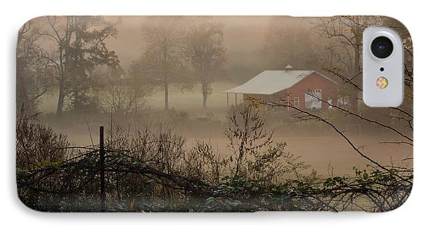 Misty Morn And Horse IPhone Case by Kathy Barney