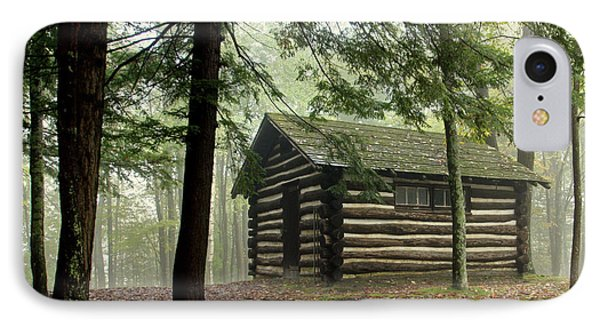 IPhone Case featuring the photograph Misty Morning Cabin by Suzanne Stout