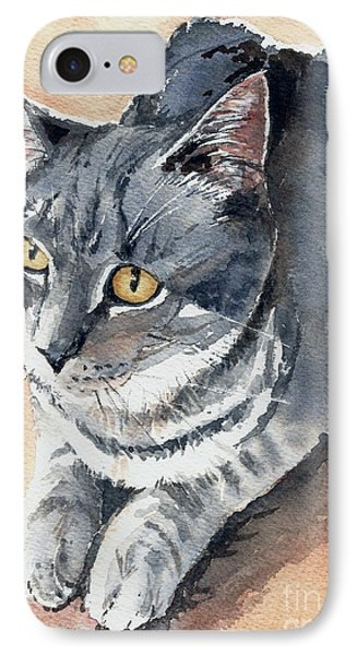 IPhone Case featuring the painting Misty Taking Over My Desk by Lynn Babineau
