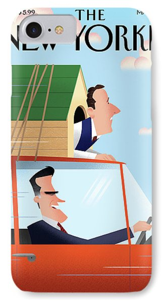 Mitt Romney Driving With Rick Santorum In A Dog IPhone Case by Bob Staake