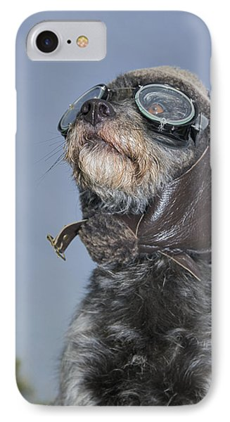 Mixed Breed Dog Dressed In Leather Cap Phone Case by Darwin Wiggett