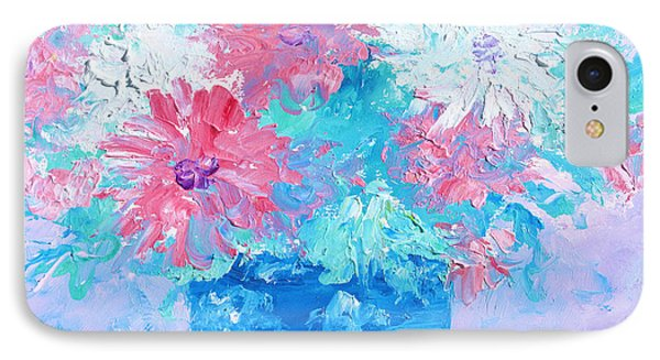 Mixed Chrysanthemums In Blue Vase IPhone Case by Jan Matson