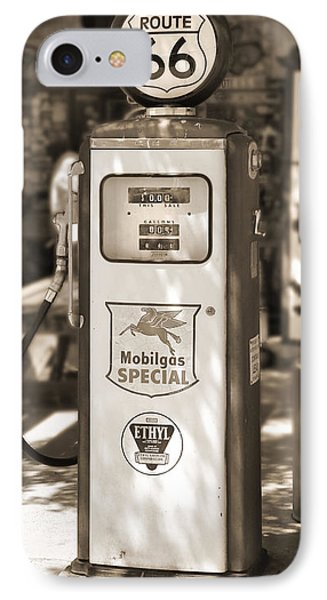 Mobilgas Special - Tokheim Pump  - Sepia Phone Case by Mike McGlothlen