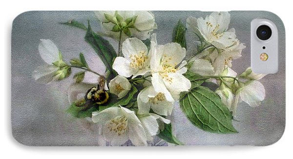 Sweet Mock Orange Blossom Bouquet With Bumble Bee  IPhone Case by Louise Kumpf
