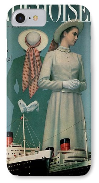 Models Wearing Duchess Royal Above Ships IPhone Case by Herman Landshoff