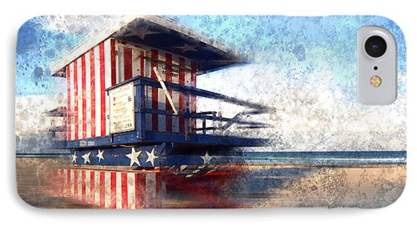 Modern-art Miami Beach Watchtower IPhone Case by Melanie Viola