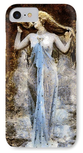 Modern Vintage Lady In Blue IPhone Case