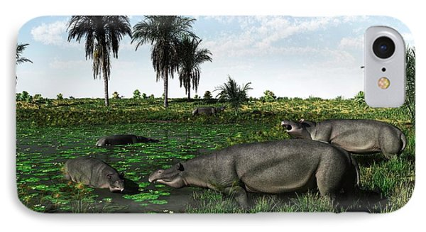 Moeritherium Mammals IPhone Case by Walter Myers