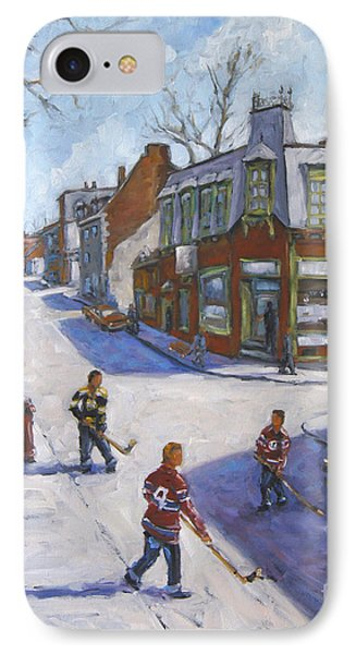 Molasses Town Hockey Rivals In The Streets Of Montreal By Pranke IPhone Case by Richard T Pranke