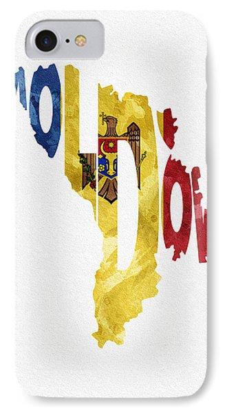 Moldova Typographic Map Flag IPhone Case by Ayse Deniz