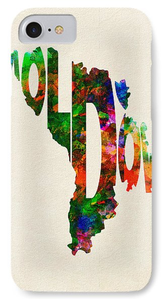 Moldova Typographic Watercolor Map IPhone Case
