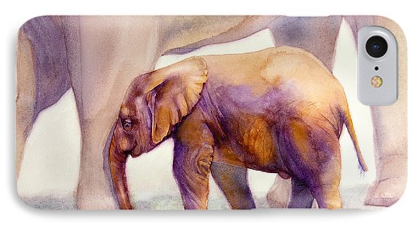 Mom And Baby Boy Elephants IPhone Case by Bonnie Rinier