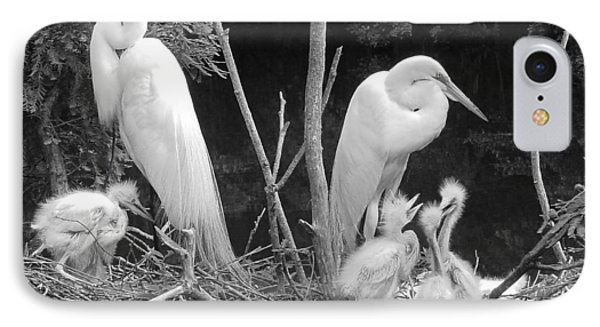 Mom And Pop And Chicks In Black And White IPhone Case