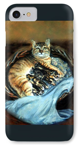 Mom With Her Kittens IPhone Case by Donna Tucker