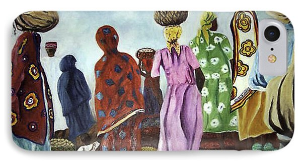 IPhone Case featuring the painting Mombasa Market by Sher Nasser