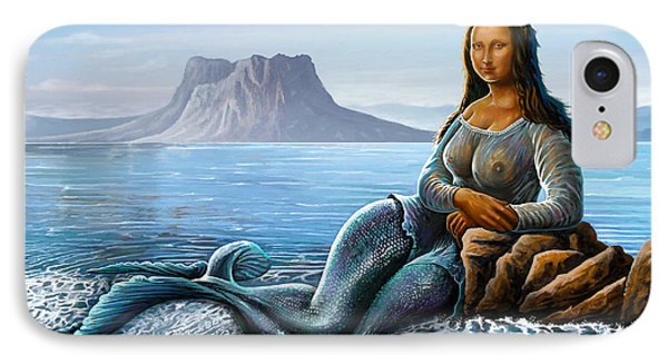 IPhone Case featuring the digital art Monalisa Mermaid by Anthony Mwangi