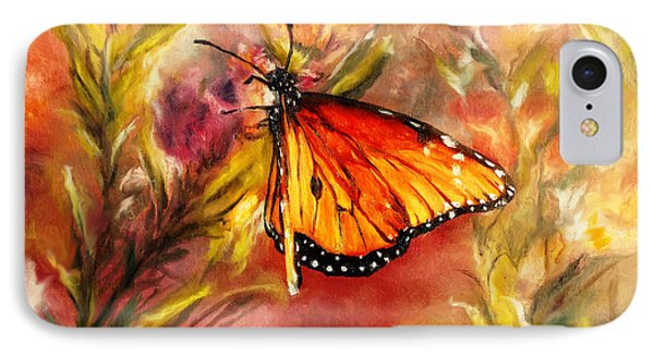 IPhone Case featuring the painting Monarch Beauty by Karen Kennedy Chatham