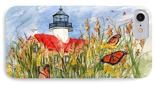 Monarch Butterflies At East Point Light IPhone Case by Nancy Patterson