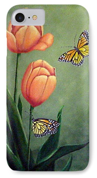 Monarchs And Golden Tulips IPhone Case by Fran Brooks