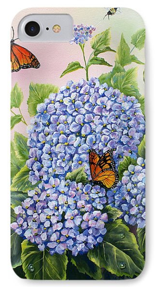 Monarchs And Hydrangeas IPhone Case by Gail Butler