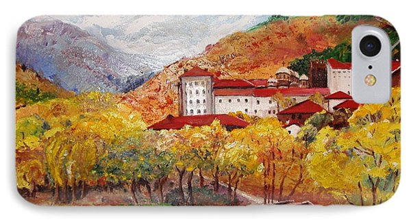 IPhone Case featuring the painting Monastery by Nina Mitkova