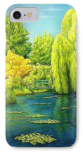 Monets Lily Pond In Green Phone Case by Gary  Hernandez