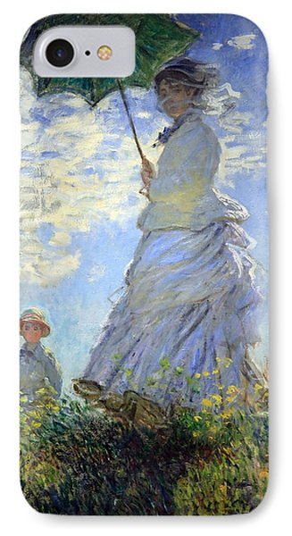 Monet's Woman With A Parasol -- Madame Monet And Her Son IPhone Case by Cora Wandel