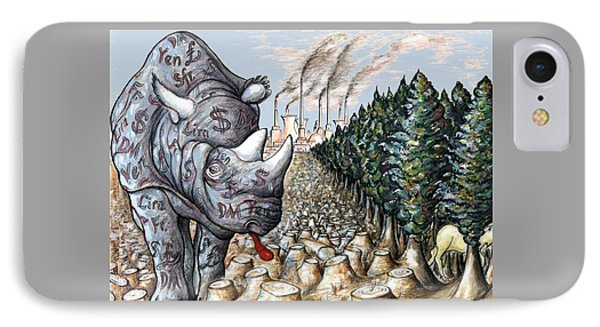 Money Against Nature - Cartoon Art IPhone Case by Art America Online Gallery